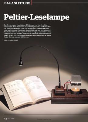 Dank des Peltier-Effekts kann man Strom erzeugen und eine USB-Lampe betreiben